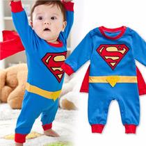 Traje De Bebe De Superman Con Capa Tallas De 0 A 2 Años