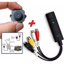 Micro Mini Câmera Sem Fio Kit Com Placa Gravar Em Computador