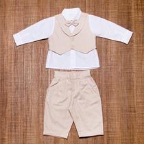 Conjunto Social Bebê - Camisa,calça,colete,gravata Bege Bco
