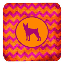 Conjunto De 4 Toy Fox Terrier Chevron Rosado Y Anaranjado De
