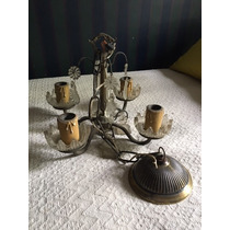Antigua Araña Bronce Y Caireles
