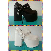 Zapatos Sandalias Plataforma Estribo Desmontable Eco Cuero