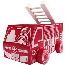 Brinquedo De Madeira Caminhão Socorrista Bombeiro Carimbras