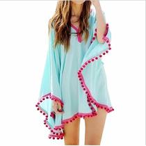 Vestido Capa Playa Para Traje De Baño Azul Con Rosa