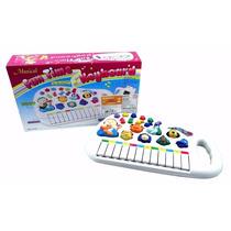 Piano Teclado Musical Infantil Sons Luz Eletrônico 12 Teclas