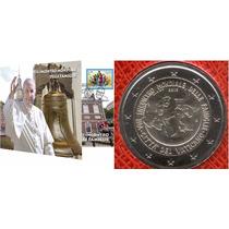 Vaticano Sobre Filatelico Numismatico 2 Euros Papa Francisco