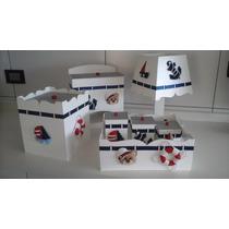 Kit Higiene Bebê Em Mdf Com Fitas Ursinho Marinheiro 7 Peças