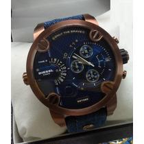 Relógio Diesel Azul Pulseira Jeans Sedex Grats 12x Sem Juros