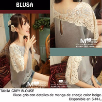 *fashionstore* Tania Grey Blouse. Blusa Encaje En Color Gris