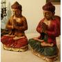 Buda Sobre Loto Gigante 55cm Maciso Pintado A Mano