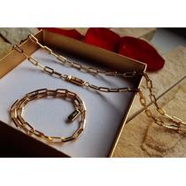 Conjunto Corrente Pulseira Cartier Banhada Ouro 18k