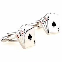 Gemelos Poker Ace Cartas Corazon Retro Geek Cuff Links
