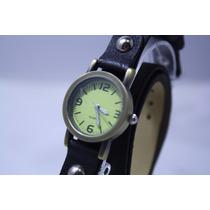 Relógio Feminino Bracelete Bronze Couro Japan Movt Novo