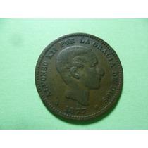 Ant. Moneda De 5 Centimos 1877, Rey Alfonso Xll. { V.f.}