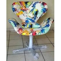 Poltrona Giratoria Aluminio Sala Cadeira Decor Casa Top Nova