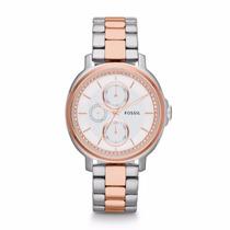 Relógio Fossil Es3356 Prata E Dourado Coleção 2016 Original