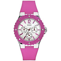 Guess Mujer U L2 Silicona Rosa Reloj De Cuarzo Con Esfera