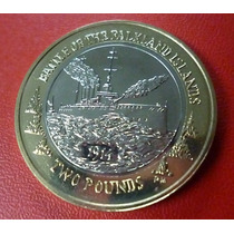 Islas Malvinas Bimetalica Batalla Malvinas 2 Libras 2014