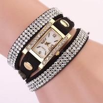 Relógio Para Mulheres Tipo Bracelete Preto E Branco Elegante