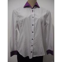 Camisa Camisete Listrado Branco E Roxo Tam M Usado Bom Estad