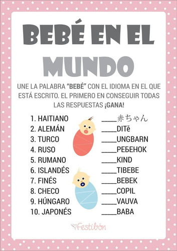 Juegos Para Baby Shower Imprimibles Nino Nina Promo 2x1 2 500 En
