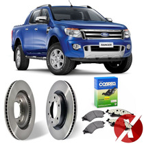 Kit Discos + Pastilhas Freio Dianteiro Nova Ford Ranger 2012