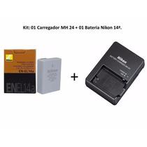 Kit Bateria Nikon En-el14a Original + Carregador Nikon Mh24
