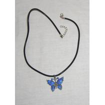 M99 Collar Gargantilla Con Dije Mariposa Con Strass Azules