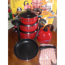 Set Ollas,sarten, Pava,utensillos,manopla-12 Piezas Teflon