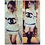 Mini Vestido Em Moletom Chanel Paris Juju Salimeni