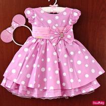 Vestido Minie Rosa Luxo Infantil Minei Minnie E Tiara Strass