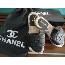 Sandália Alpargata Chanel - Estilo - Rasteira - Em Couro