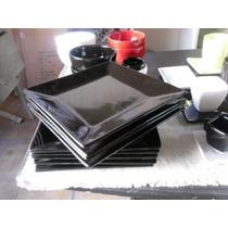 Plato Cuadrado Playo Negro 25x25cm Hondo 22x22cm Cerámica