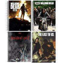 Kit C/4 Cadernos The Walking Dead/ Resident Evil/ Last Of Us