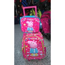 Morral Y Lonchera Escolar Grande Disney Niñas Con Rodachines