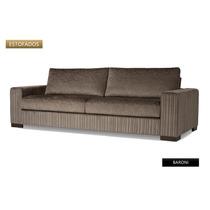 Sofa 2 Lug Baroni Novo Tecido Chenile, Jacquard Ou Linho