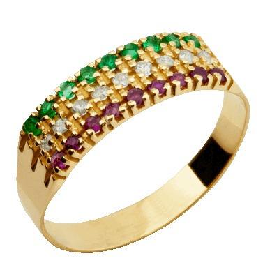 Meia Aliança Ouro 18k 9 Rubis 9 Esmeraldas 9 Brilhantes 1pto - R ... 482d6e4f9a
