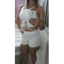 Conjunto Cropped Tiras Com Bojo E Shorts Estilo Maria Gueixa