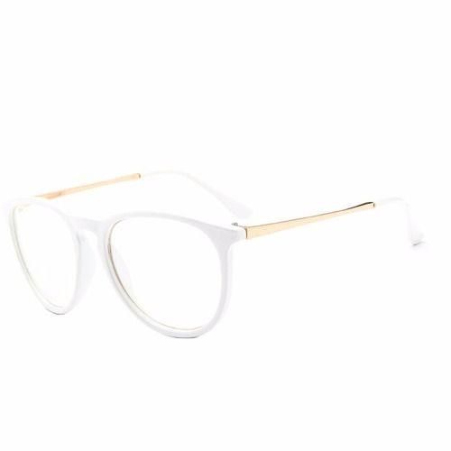 21b01ffb967bd Armação Óculos Branco Redondo Com Haste De Metal Dourado - R  70
