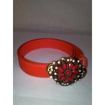 Cinto Vermelho Em Couro Fivela Com Pedra E Strass- Promoção