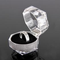 Caja Para Anillo Aretes Joyas Diamante Acrilico