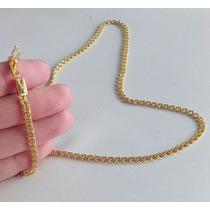 Cordão Frizinho 70cm E 3mm Banhado A Ouro - Elos Soldados