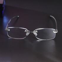 Óculos De Leitura Grau +2.00 Sem Aro Em Alumínio Com Molas