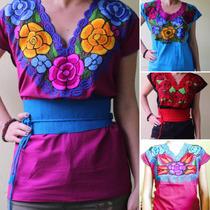 Blusa Artesanal Bordada De Flores Chiapas Mayoreo