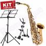 Kit Saxofone Alto Sa500 Ln Eagle Mib Suporte Partitura
