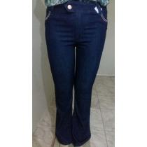 Linda Calça Flare Feminina Jeans Escuro Plus Size 44 Ao 50