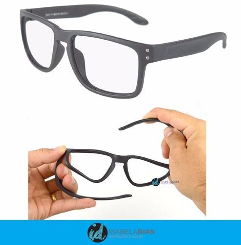 1c86a514e8d2f Armação Óculos Grau Masculino Flexível Adulto Barato S911 - R  49