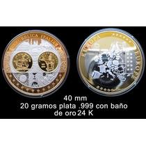 Medalla Italia Conmemorativa Del Euro - Oro Y Plata