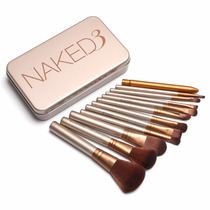 Kit 12 Pincel Maquiagem Naked 3 Power Brush Com Estojo