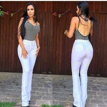 Calça Jeans Feminina Elastano Flare Branca Levanta Bumbum